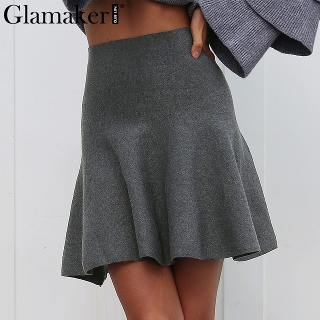 ddc5d17d7c9 Glamaker Knitted drap a-line skirts Women elegant pleated mini skirt autumn  Winter 2018 high waist female streetwear short skirt