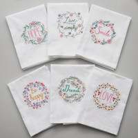 100pcs/lot High quality Embroidered Tea Towels Cotton Napkins Table Napkins Home Kitchen Servetten Wedding Cloth Napkins 45*70cm