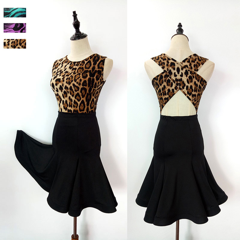 Latin Dance Dress Ladies Sleeveless Sexy Back Leopard Costume Women Competition Samba Tango Cha Dancing Practice