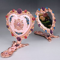 Authentic Russian Peacock Retro Dressing Tin Copper Mirror 3D Mirror Desktop Folding Handle Multicolor Mirror