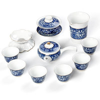 Blue and white porcelain Kung Fu tea sets ceramic Japanese home simple teapot cups gift box high white jade porcelain