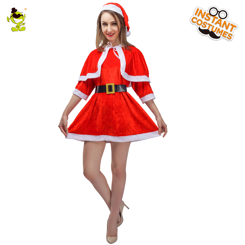 2018 Women's  Santa Christmas  Party Costume Girls Red Dress Role Play Happy Christmas Costumes Cheer  Christmas Festival
