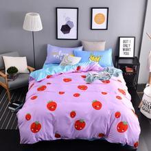 Textiles Para el hogar, Juegos de Cama de Estilo Lindo Pink Fresas 3/4 Unids Funda Nórdica Sábana Funda de Almohada King Queen Tamaño Doble completo