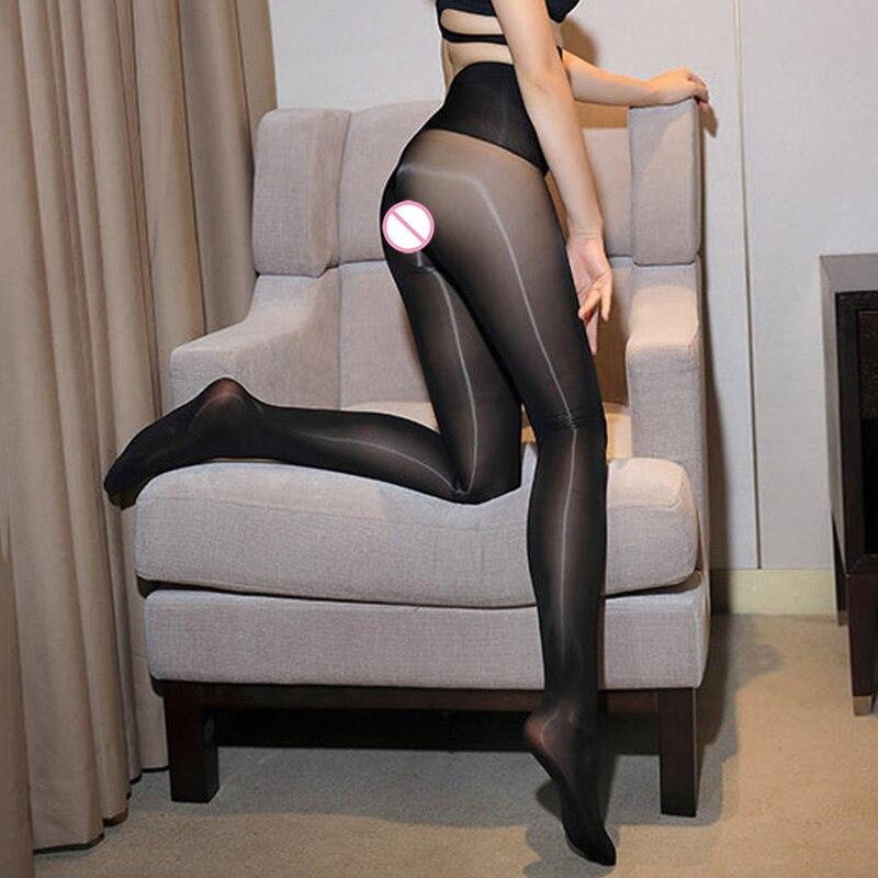 High Glossy Shiny Seamless Pantyhose 8D Women Plus Size Crotch//Crotchless Tights