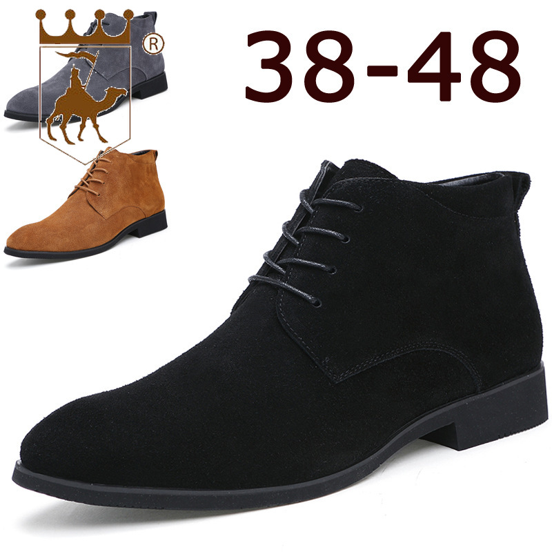 BACKCAMEL2019 Spring New Mens Boots England Pointed Leather Boots Solid Color Rubber Bottom Non-slip Wearable Large Size 39-48BACKCAMEL2019 Spring New Mens Boots England Pointed Leather Boots Solid Color Rubber Bottom Non-slip Wearable Large Size 39-48