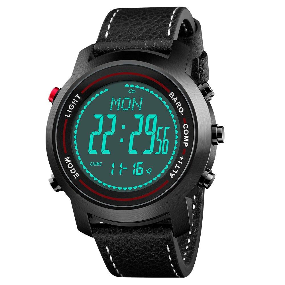 Bozlun Мужские Цифровые спортивные часы с компасом шагомер альтиметр барометр военные водостойкие наручные часы с кожаным ремешком