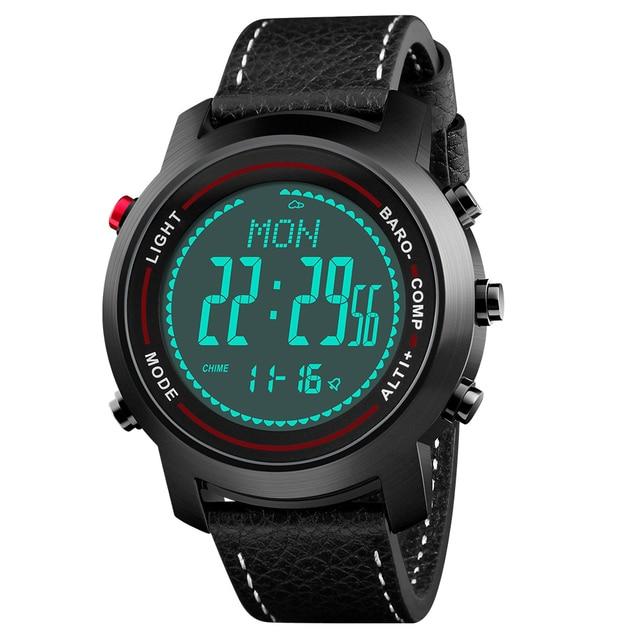 Мужские Цифровые спортивные часы Bozlun с компасом, шагомером, высотомером, барометром, военные водонепроницаемые наручные часы с кожаным ремешком