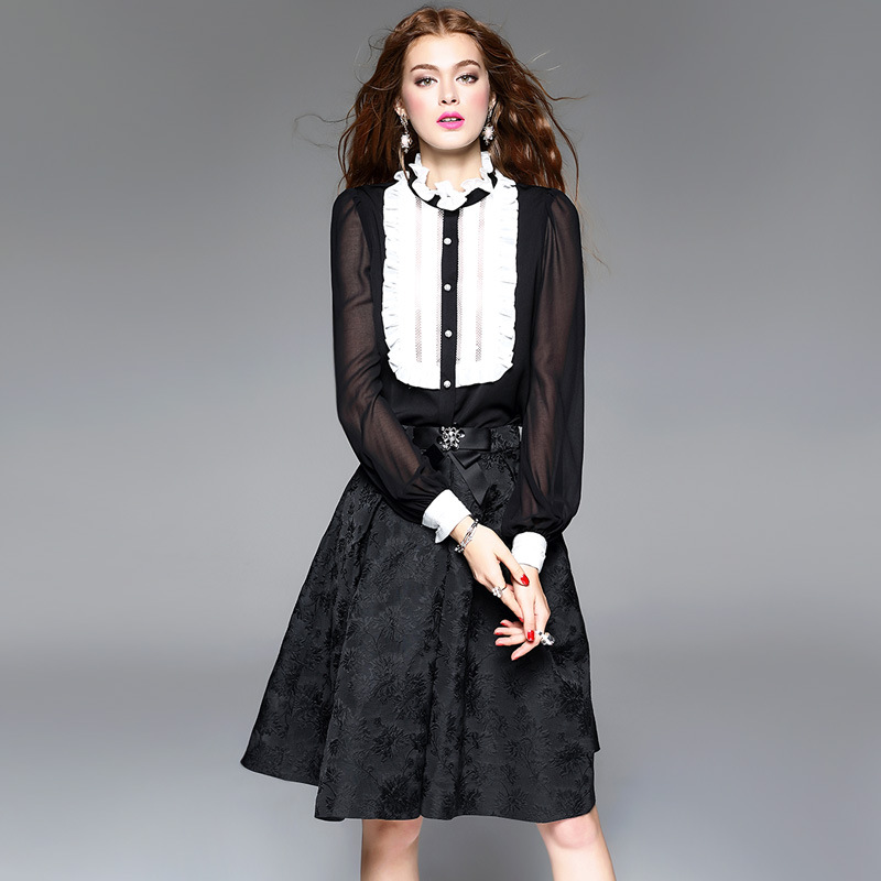 Pure Silk Blouses 2017 Spring Autumn Women Ruffled Long Sleeve White Black Patchwork Lace Chiffon Shirt