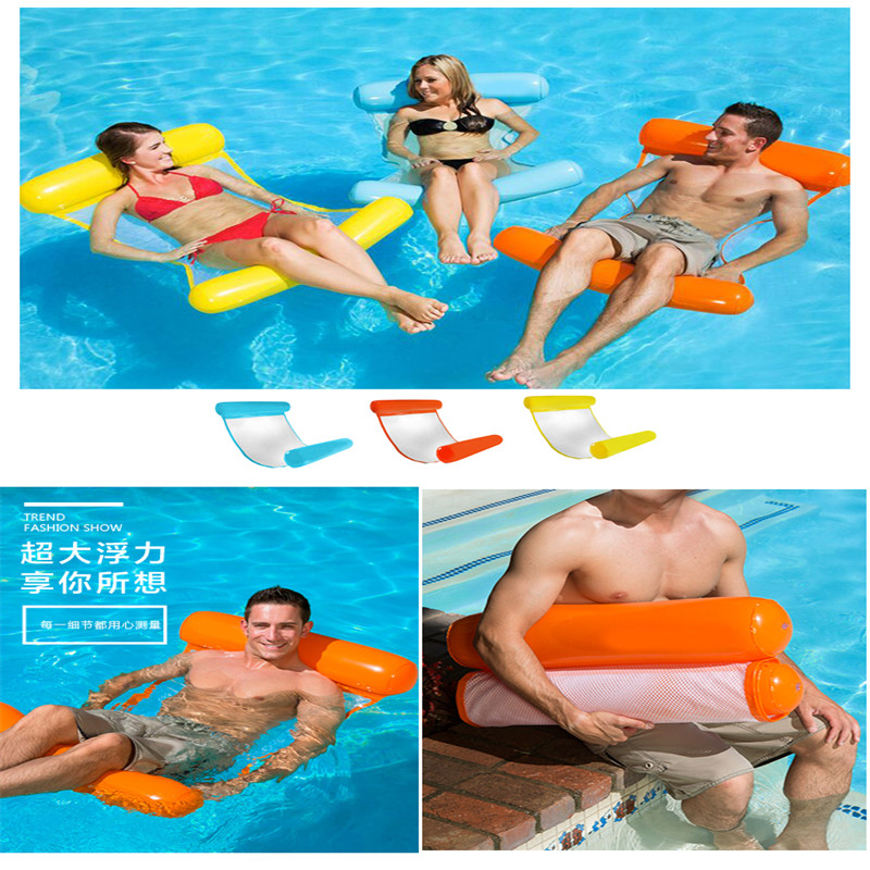 Foldable Inflatable Float Hammock Portable Dual Backrest Floating Row Chair Float Bed In Swimming Pool Float Rest For Adult Kids
