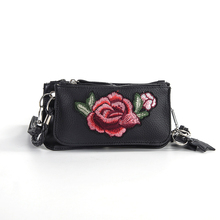 Rose Embroidery Bags Women Elegant Floral For Ladies Star Decoration Crossbody Long Strap Zipper Clutch Wallet KN023