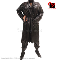Sexy Latex black belts Bathrobe Rubber Robe Smugger coat Pajamas Swinger Kimono Top Sleepwear gown XXXL plus size DY 004