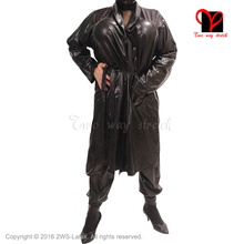 Sexy Latex black belts Bathrobe Rubber Robe Smugger coat Pajamas Swinger Kimono Top Sleepwear gown XXXL plus size