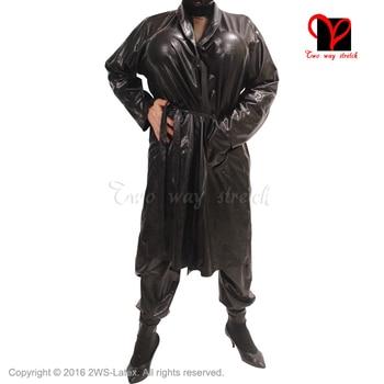 Sexy Latex black belts Bathrobe Rubber Robe Smugger coat Pajamas Swinger Kimono Top Sleepwear gown XXXL plus size DY-004