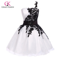 Grace Karin 1pc Lot One Shoulder White Black Organ Satin High Quality Organza Lace Short Prom