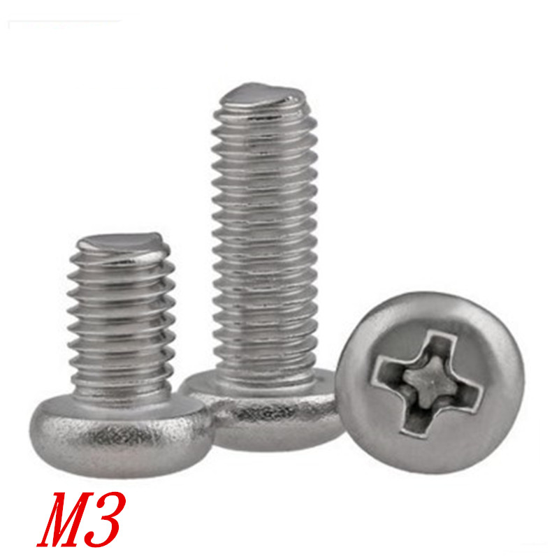 M3 8mm Stainless Steel Pan Head Screw Bolt w// Washer Nut Pack of 20 Phillips