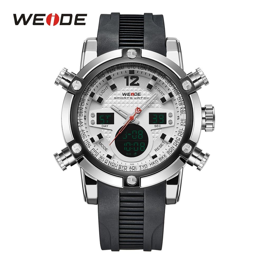 WEIDE Men Sports Design Date Alarm Business Stopwatch Analog Digital Male Military Wristwatch Clock Relogio Masculino Drop Ship
