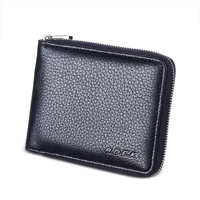 d7cd357ea Black Real Genuine Leather Wallet Men Zipper Handbag Business Credit Cards  Holder Coins Pures Billetera Monedero