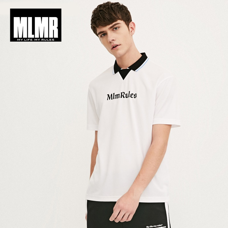MLMR Men's Letter Print Turn-down Collar Short-sleeved   Polo   Shirt Top Menswear|218106519