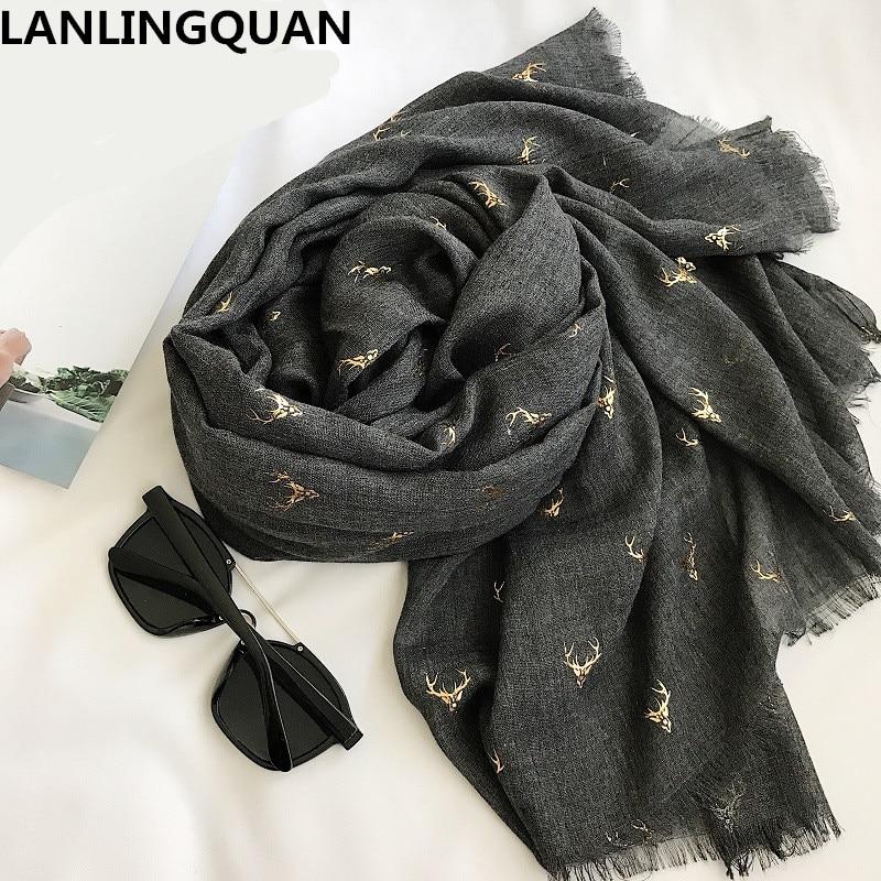 Desigual Women Scarf Luxury Brand Scarfs Cotton Long Bandana 2018 Flax Bronzing Fashion Warm Scarves Winter Shawl Pashmina