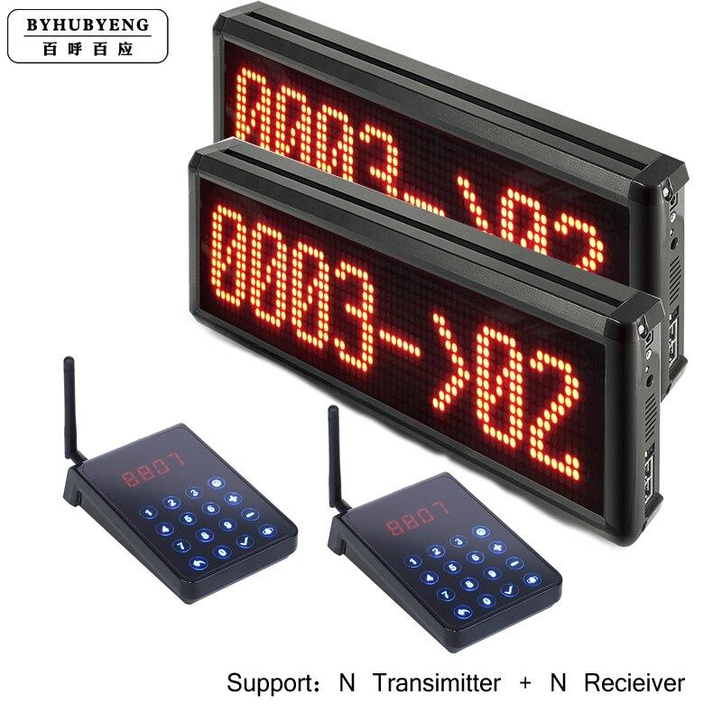 BYHUBYENG Elektronische Queue-Management-System 2 Display und 2 Tastatur Unterstützung Angepasst Sprache FM 200m Einfache Warteschlange System