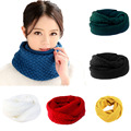 Winter Lady Collar Loop Crossing Knitted Scarves Trendy Warmer Capes Soft Simple