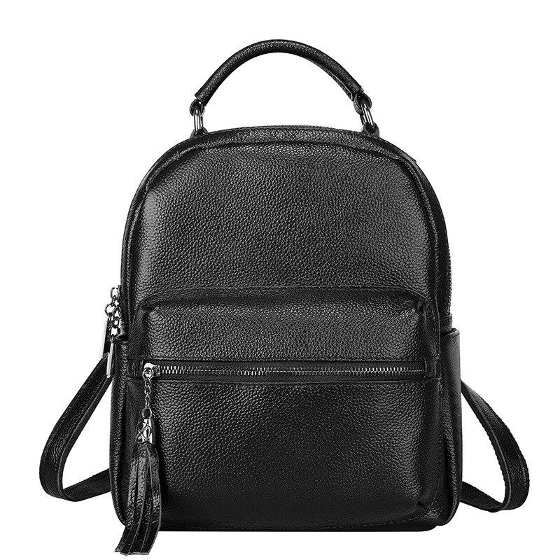 Mini Genuine Leather Backpack Women Anti Theft Tassel Bagpack for Teenager Girls Travel School Bag Luxury Large Back Pack Bag