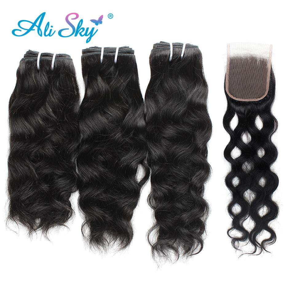 3 Bundles With Lace Closure Ali Sky Peruvian Natural Wave Hair Weave Bundles With Closure Human Hair Non Remy Hair Extensions