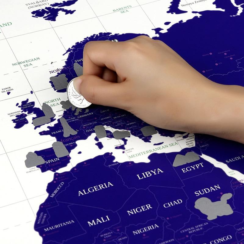 DUGUO Stationery Travel Quest Map Wall Sticker Luminous Map World Edition City Scratch Map Night Light Edition World Map