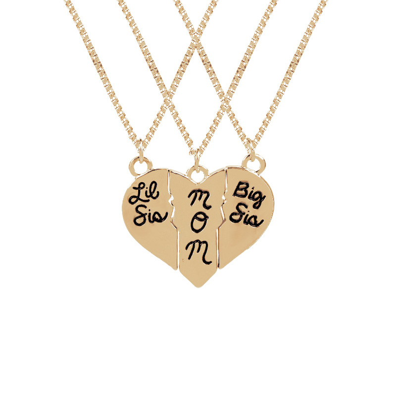 Mother & Kids Necklace Love Heart 3 Pcs Mom Big Sis Little Sis Pendant Necklace Set For Mother Daughter Flower Girl Jewelry Gift