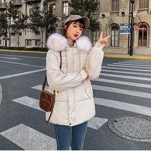 BR 2020 Women Winter Short Jacket Mujer Hooded Parkas Coat Loose Parka Fur Collar Cotton Padded Jackets