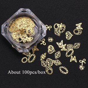 Image 3 - 3D Gold Metallic Slice Sequin Paillette Mixed Design Flower Butterfly Charms Nail Art Decoration DIY Hollow Manicure Studs CH967