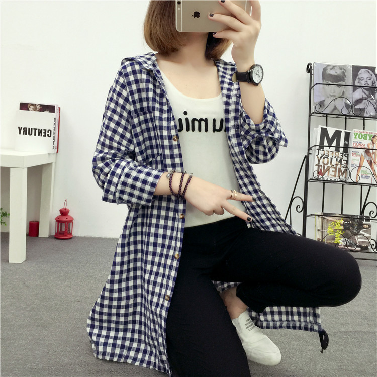 Brand Yan Qing Huan 2018 Spring Long Paragraph Large Size Plaid Shirt Fashion New Women's Casual Loose Long-sleeved Blouse Shirt 17