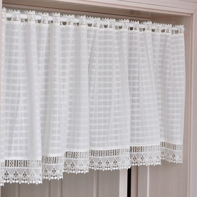 Cotton Lace Plaid Kitchen Curtain Free 140 Cm X 45 Cm Decorative Modern White  Kitchen Curtains