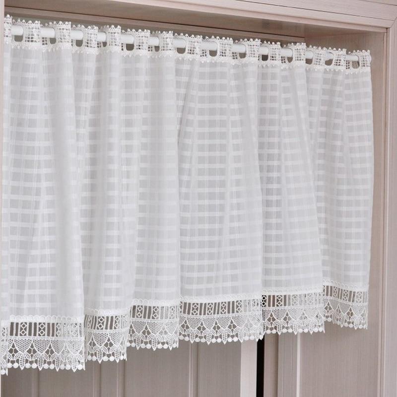 pizzo di cotone plaid tenda cucina 140 cm x 45 cm decorativo moderno bianco cucina tende