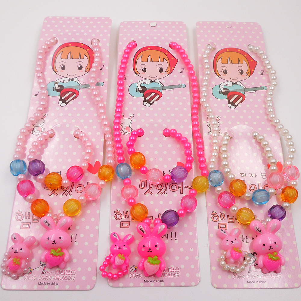Candy Color Children Cute Robbit Necklace Simulated Pearl Girl Kids Baby  Stretch Necklace Gj6(china