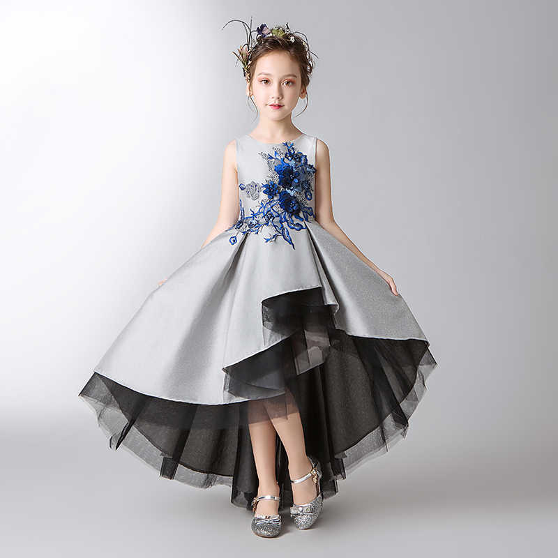 7c70006e89d Elegant Kids Wedding Dress Silver Tulle Flower Girls Dress Sequin Pageant  Party Ball Gown Girl Prom