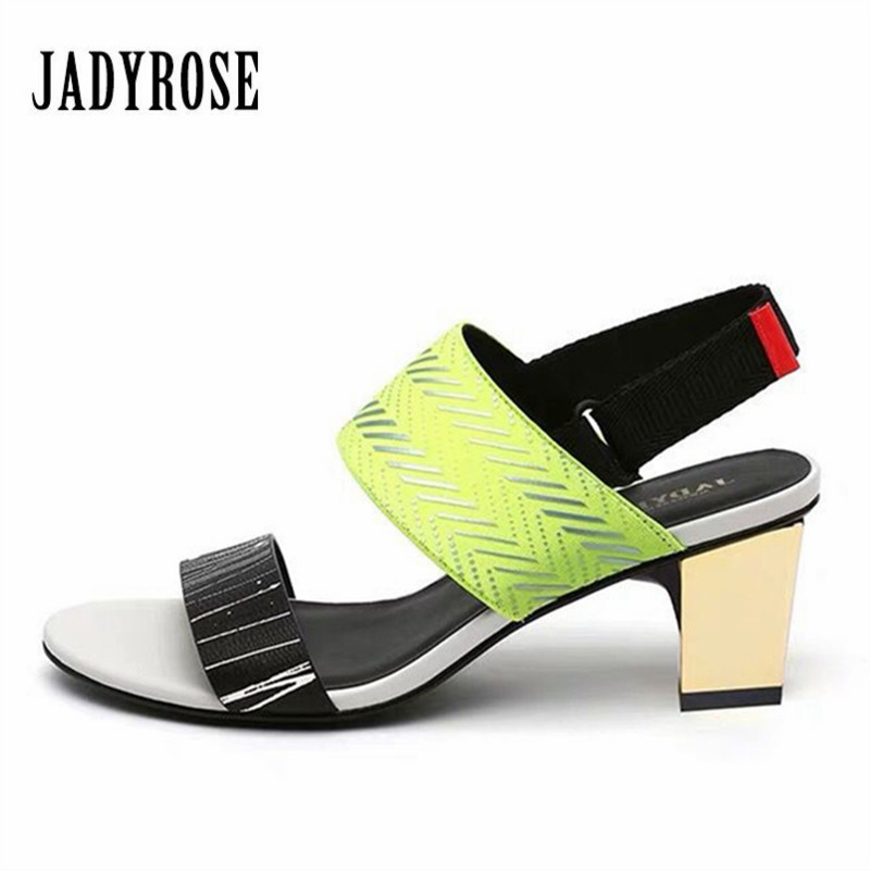 Jady Rose 2019 New Gladiator Sandals Summer Dress Shoes Woman 6CM Chunky High Heels Women Pumps Sandalias MujerJady Rose 2019 New Gladiator Sandals Summer Dress Shoes Woman 6CM Chunky High Heels Women Pumps Sandalias Mujer