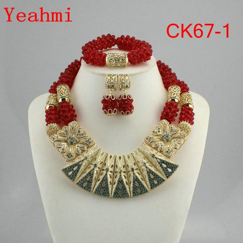 Free Shipping Fashion Nigerian Wedding African Bead Jewelry Set Crystal Necklace Set Party Wedding Dubai Jewelry Set CK67-1