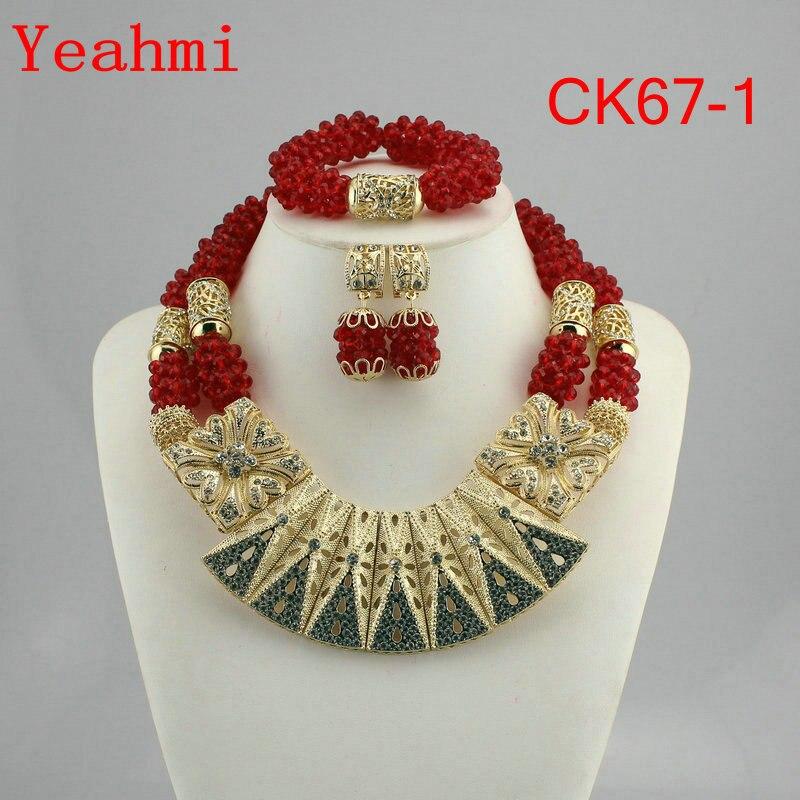 Livraison gratuite mode nigérian mariage africain perle bijoux ensemble cristal collier ensemble fête mariage Dubai bijoux ensemble CK67-1