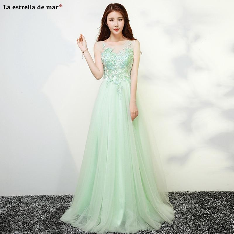 Vestido dama de honor boda2019 new tulle crystal back open ALina mint green   bridesmaid     dress   long abiti damigelle