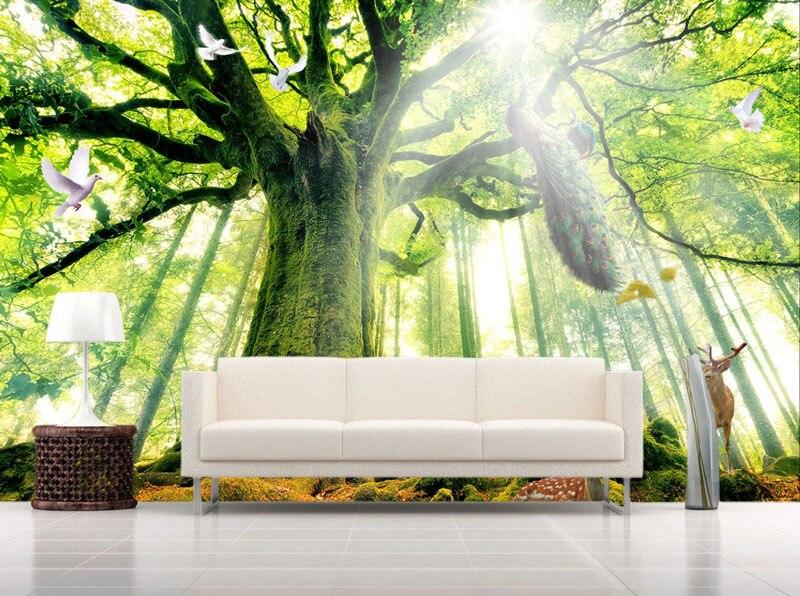 aliexpress.com : acquista albero boschi foresta foto wallpaper ... - Carta Da Parati Paesaggi Naturali