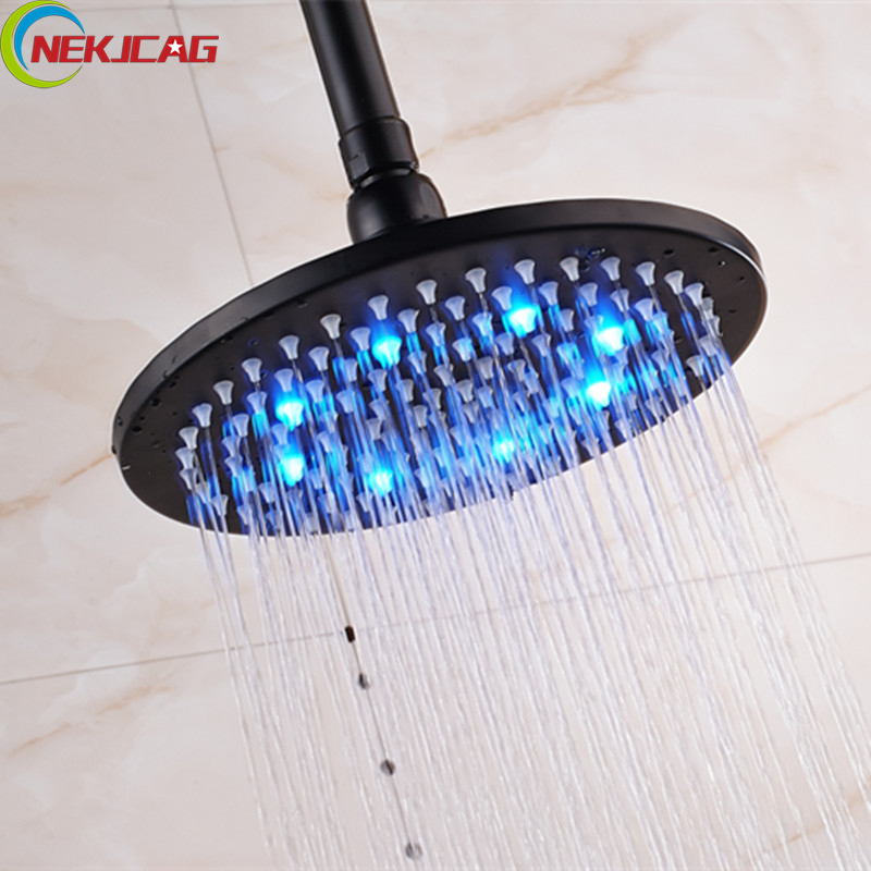 Bathroom Faucet 16 Inch Oil Rubbed Bronze Brass Rainfall Shower Head With Led Light allen roth brinkley handsome oil rubbed bronze metal toothbrush holder
