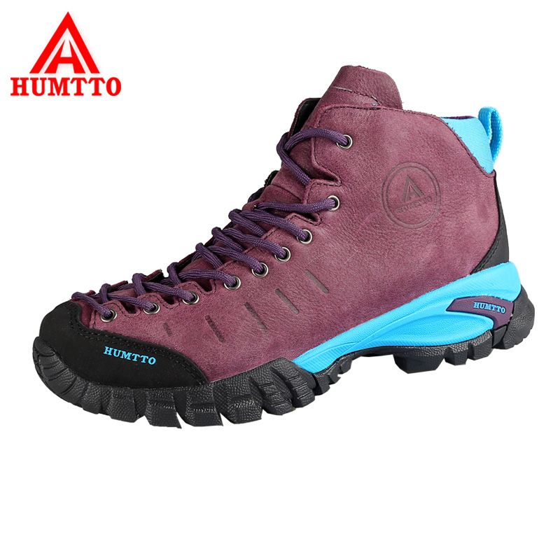 HUMTTO Women's Hiking Shoes Genuine Leather Outdoor Shoes Waterproof Climbing Shoes Hard-Wearing Thermal Boots Mountain Sneakers yin qi shi man winter outdoor shoes hiking camping trip high top hiking boots cow leather durable female plush warm outdoor boot