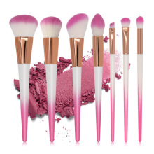 ODESSY 7pcs Pink White Handle Makeup Brushes Set Foundation Powder Blush Eye Shadow Make-up Brushes Face Beauty Makeup Tools Kit handmade makeup brushes set 6pcs soft goat hair make up face powder blush eye shadow brush pink handle cosmetic tools