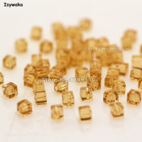 Isywaka 980pcs Cube 3mm Golden Color Square Austria Crystal Beads Charm Glass Beads Loose Spacer Bead