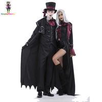 Halloween Vampire Couple Costumes Men's Bloody Handsome Costume Womens Steampunk Vampiress Uniforms Blood Countess Kits