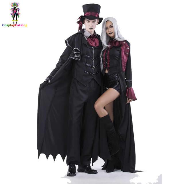 9838ff05 Halloween Vampire Couple Costumes Men's Bloody Handsome Costume Womens  Steampunk Vampiress Uniforms Blood Countess Kits