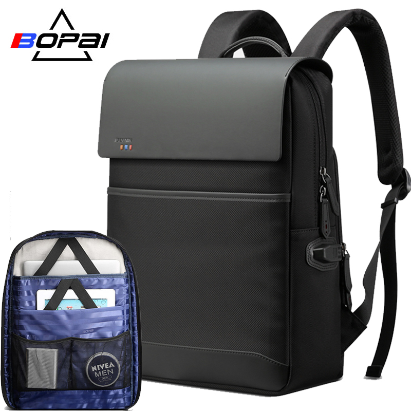 BOPAI Laptop Backpack for 15.6 inch Multifunction USB Charging Large Capacity Anti theft Business Bag Waterproof Travel Backpack bopai laptop backpack with usb external charging port for 15 6 inch laptop men anti theft waterproof large capacity travel bag
