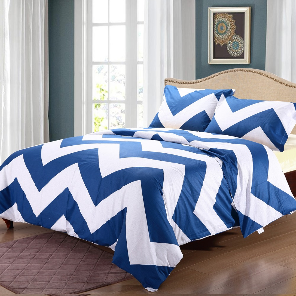 Bright blue bedding - Modern Style 100 Cotton 3pcs Neat Designs Duvet Cover Set Bright Color Blue And White