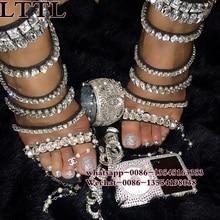 Gladiator Sandals Women Summer Rhinestone Thin Heel